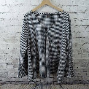 Ashley Stewart Gingham Check Black White Top